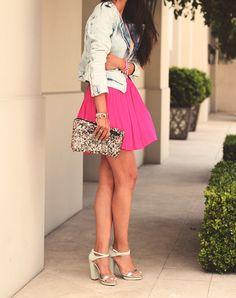 Hot pink skirt.
