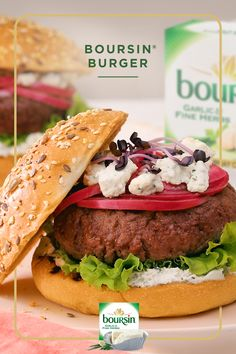 Elevate your backyard BBQ with the Boursin® Burger. Just add Boursin® Garlic & Fine Herbs cheese, lettuce and pickled onions with a flourish of microgreens. Boursin Cheese, Barbacoa, Cheese Recipes, Snack Recipes, Cake Ball Recipes, Junk Food Snacks, Crockpot, Pickled Onions, Recipes