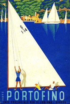 ✔️ Portofino Ente Provinciale per il Turismo di Genova Vintage Italian Posters, Vintage Travel Posters, Illustrations Vintage, Illustrations Posters, Poster Ads, Advertising Poster, Vintage Advertisements, Vintage Ads, Vintage Italy