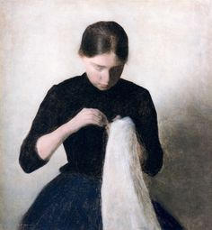 Vilhelm Hammershoi  Young Girl Sewing 1887