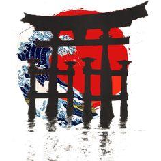 Idea de Tattoo Japonés. Sol naixent, onada de Kanagawa i Torii de Miyajima Kanji Japanese, Japanese Waves, Japanese Symbol, Japanese Sleeve, Samurai Tattoo, Samurai Art, Japanese Painting, Karate, Tattoo Ideas