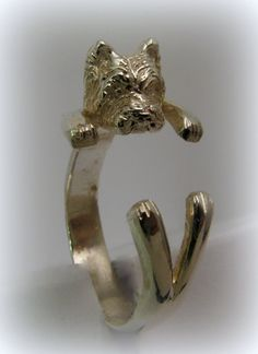Silver Westie ring by Minicsiga on Etsy