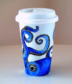 Octopus Ceramic Travel Mug Blue Nautical Sea Creature eco friendly kraken painted by sewZinski, $35.0