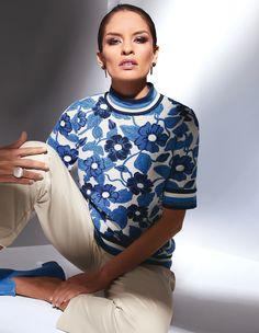 Trui, champagne/multi colour, blauw, wit | MADELEINE Fashion