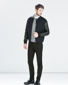 Image 1 of JACKET WITH FAUX LEATHER SLEEVES from Zara