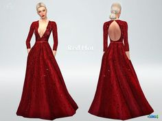 Red Hot Dress - The Sims 4 Catalog - Source by sakigabs - Sims 4 Dresses, Sexy Dresses, Evening Dresses, Prom Dresses, Sims 4 Wedding Dress, The Sims 4 Cabelos, Sims4 Clothes, Sims 4 Clothing, Clothing Sets