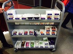 Book cart + littleBits pro library = super portable way to create a mobile littleBits makerspace. I love this idea! Library Cart, Library Center, Library Ideas, School Library Displays, Middle School Libraries, Space Lab, Stem Curriculum, Classroom Tools, Classroom Ideas