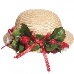 Girls Straw Hat with Red Ribbon   Berry Trim Cappelli Per Neonato Fatti A  Maglia 0db2662cee72