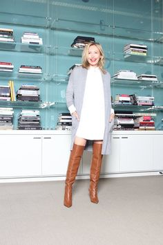 """Friday, October 9  """"Get ready for the weekend in season-less white. Pair lace and an effortless sheer tie-front blouse and complete your look with stylish black accent accessories."""" -Lubov Azria"""