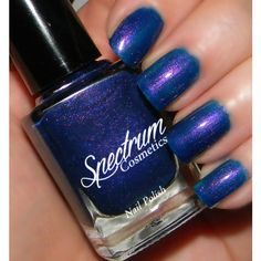 Belladonna Blue With Purple Shimmer Nail Polish ($4) ❤ liked on Polyvore featuring beauty products, nail care, nail polish, bath & beauty, dark olive, makeup & cosmetics, nail polishes, nails, purple nail color and army green nail polish