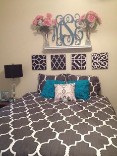my perfect college apartment bedroom! grey pink & mint ...