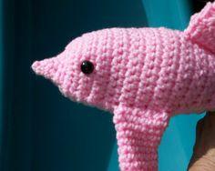 Pink Plush Toy Bottlenose DOLPHIN  Stuffed by CoastalCrochetCrafts, $18.00