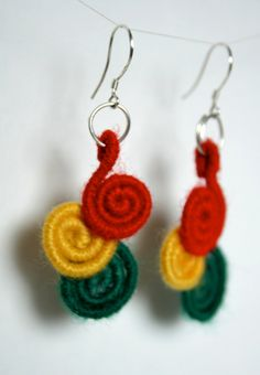 Rasta earrings   Red gold and green by MixupCreations on Etsy, $17.00