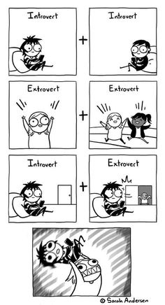 Every Introvert needs an Extrovert. Really Funny Memes, Stupid Funny Memes, Funny Relatable Memes, Haha Funny, Hilarious, Cute Comics, Funny Comics, Sarah Anderson Comics, Sarah's Scribbles