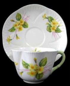 Shelley Dainty Primrose Cup and Saucer England Vintage Green Trim – Antiques And Teacups