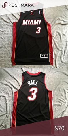 22244ca80d0 Adidas Dwyane Wade Miami Heat NBA Jersey Men s Large. Adidas Dwyane Wade  Miami Heat NBA