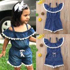 2018 Lace Denim Kid Baby Girl Off Shoulder Romper Jumpsuit Casual Outfit Clothes Frocks For Girls, Dresses Kids Girl, Kids Outfits, Baby Dress Design, Baby Girl Dress Patterns, Toddler Fashion, Kids Fashion, Off Shoulder Romper, Baby Girl Romper