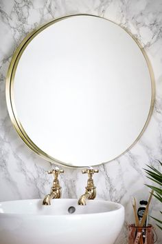 Buy Brushed Gold Wall Mirror from the Next UK online shop Gold Wall Mirror, Gold Mirror Bathroom, Bathroom Inspo, Bathroom Interior, Bathroom Ideas, Mantle Styling, Smart Toilet, Mirrors