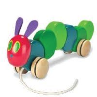 "Wood Pull Toy by Kids Preferred  Bring to life the beloved main character of Eric Carle's The Very Hungry Caterpillar. Measuring 11"" L, your child is sure to enjoy pulling along this fun little friend."