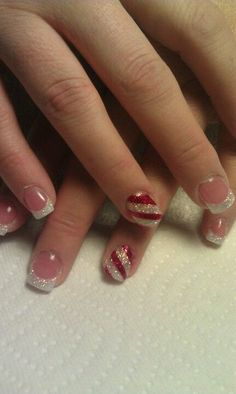 30 festive Christmas acrylic nail designs For ambers nails-pearl rainbow base with white tips and baby its cold outside gradient. Accent nail pearl base with red stripes Ongles Gel French, French Tip Nails, Nail French, French Tips, Xmas Nails, Holiday Nails, Holiday Acrylic Nails, Valentine Nails, Halloween Nails