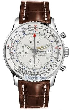 Breitling Navitimer Chronograph Watch with white dial and 3 subdials on brown leather band