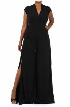 PLUS WOMEN BLACK V-NECK HIGH SLIT WIDE LEG PALAZZO PANTS SUIT DRESS JUMPSUIT 2X #LACouture #Jumpsuit