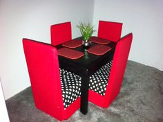 Dining Table & Chairs for Barbie/ Monster High/ Fashion Royalty/ Momoko/ J-Doll/ or Bratz - Red and Black Heart Theme - Get 20% Off