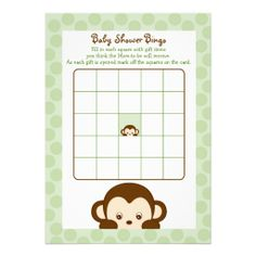 Pop Monkey Baby Shower Bingo Cards