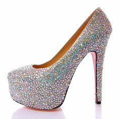 Fascinating Design Silver Rhinestone Stiletto Heels Special Occasion Shoes