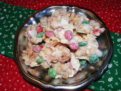 Christmas Bark Candy from Food.com:   								A SPECIAL treat for the family at Christmas! Quick and easy to prepare.  May be placed in gift bags with a pretty bow.  Ingredients can vary with your choice of substitutions.  Something good to munch on!
