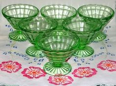 Pretty green Depression dessert glasses...i think they came in oatmeal boxes