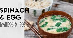 Egg and spinach make delicious Japanese miso soup ingredients that are also healthy! This soup is so easy to make and delicious. Japanese Miso Soup, Miso Soup Ingredients, Spinach Egg, Asian Recipes, Ethnic Recipes, Just Cooking, Mashed Potatoes, Main Dishes, Kitchens