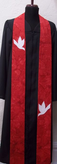 Red Clergy Stole for Pentecost or Ordination by SerendipityStoles