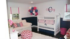 cute colors ...darker bottom wall and lighter top ...balls are cute navy and pink!  hmmm