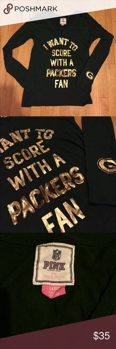 VS PINK Score with a Packers fan sequin shirt Victoria's Secret PINK Green Bay Packers long sleeve. Packers is in gold sequins in front, the rest is in gold metallic lettering. Packers logo on left sleeve and love pink on back. Size large BUT fits like a medium in my opinion. In great condition! PINK Victoria's Secret Tops Tees - Long Sleeve