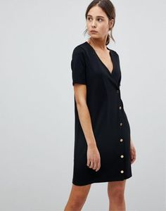 ed706ee4214543 ASOS Button Front T-Shirt Dress In Ponte Asos