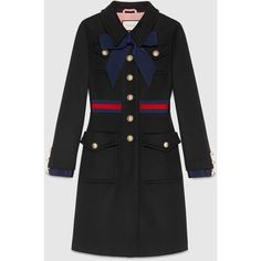 Gucci Wool Coat With Web ($2,615) ❤ liked on Polyvore featuring outerwear, coats, jackets, coats & jackets, gucci, coats & furs, ready-to-wear, women, woolen coat and wool coats