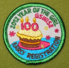 Girl Scouts Wisconsin Southeast 100th Anniversary Early Bird patch Thank you, Sheri.