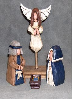 carved nativity sets   Carved Wood Nativity Sets Pictures  Love the way the angel is done but the wings growing out of her head bother me