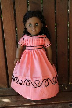 Addy's Cape Cod dress and hair ribbon for 18in by bobbyjosue, $41.50