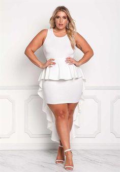 Plus Size Clothing | Plus Size Ruffle Hi-Lo Peplum Bodycon Dress | Debshops