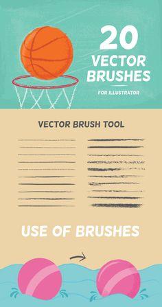 20 Vector Brushes Set — AI Illustrator #pensil #strokes • Available here → https://graphicriver.net/item/20-vector-brushes-set/11744329?ref=pxcr