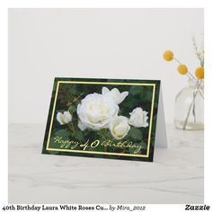 Shop Wedding Anniversary Wishes White Roses Elegant Card created by Personalize it with photos & text or purchase as is! 1st Wedding Anniversary Wishes, 25 Year Anniversary Gift, Girlfriend Anniversary Gifts, Happy Anniversary Cards, Anniversary Flowers, 40th Birthday Cards, Birthday Roses, 35th Birthday, Birthday Gifts