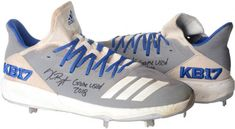 """Kris Bryant Chicago Cubs Autographed Game-Used Gray and Blue Cleats from the 2018 MLB Season with """"Game Used Inscription - Size Chicago Cubs Memorabilia, Cubs Games, Cubs Fan, Vintage Display, American Sports, Dream Man, Ml B, Trading Cards, Man Cave"""