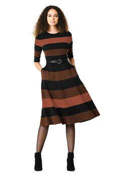 435db13603aa Banded stripe cotton knit belted dress-CL0060382 Best Wraps