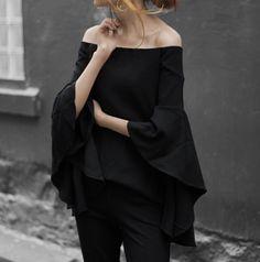 Black Flared Sleeve Top-Revolve