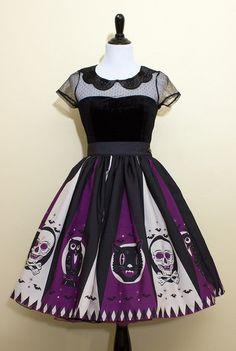 Halloween Treat Novelty Print Circle Skirt Purple