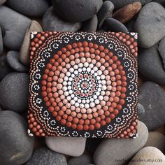 "Earth Design, Aboriginal Dot Art Painting, by Biripi Artist Raechel Saunders, 4"" x 4"" canvas board, Acrylic Paint, brown decor, ombre art"