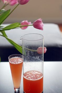 Fresh grapefruit mimosas