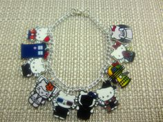 Hello Kitty Doctor Who Characters Charm Bracelet- Doctors, Dalek, Tardis, Ood, Weeping Angel, Cyberman, Empty Child